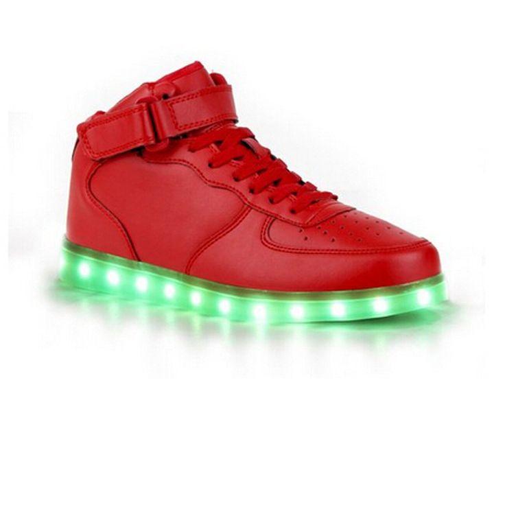 (Present:kleines Handtuch)Rot EU 40, LED Herren 7 Sneaker Unisex-Erwachsene Damen High-Top Aufladen für Turnschuhe USB mode Sportschuhe Sport L