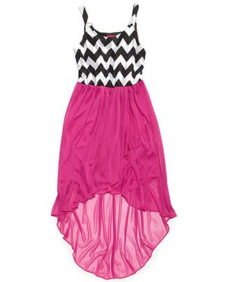 Ruby Rox Girls' Chevron-Print High-Low Dress - Kids Dresses & Dresswear - Macy's