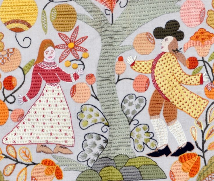 Bride and Groom in old linen - Silk Embroidery  - Bordado de Castelo Branco
