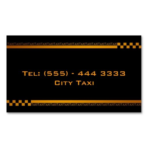 Simple Black Taxi Service Business Card. Make your own business card with this great design. All you need is to add your info to this template. Click the image to try it out!