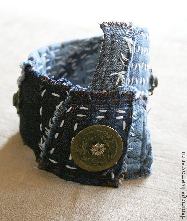 Купить Джинсовый браслет - джинсовый браслет, деним, индиго, хиппи стиль, бохо-стиль, джинса