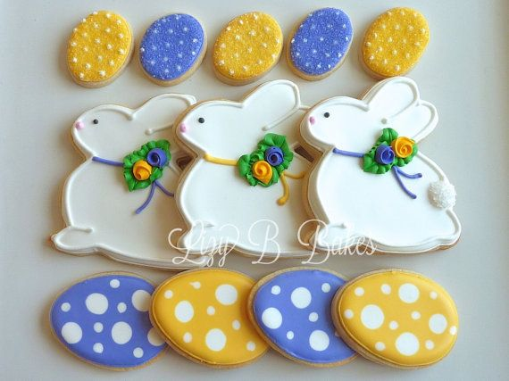 Easter Bunny Cookie Set by LizyBsbakeshop on Etsy.  I like the polka dot eggs