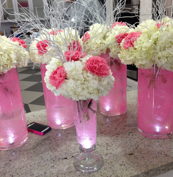 16 Stunning Floating Wedding Centerpiece Ideas: Pink Carnations And Hydrangeas Centerpiece