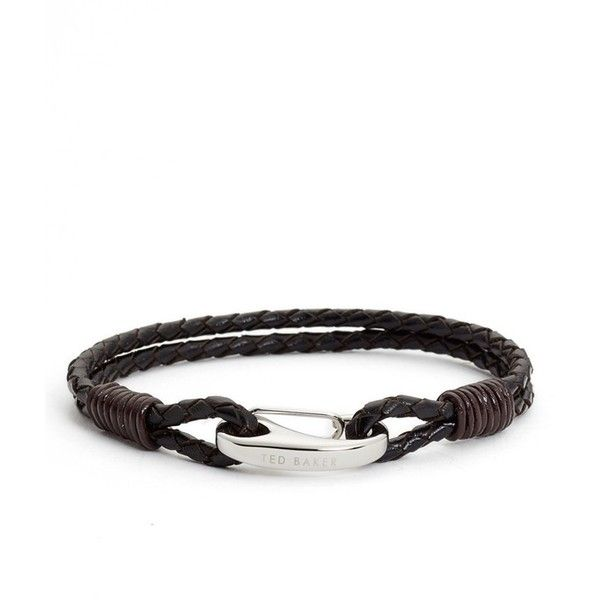 Men's Ted Baker London Trapezz Leather Bracelet featuring polyvore, men's fashion, men's jewelry, men's bracelets, black, mens watches jewelry, mens bracelets, mens leather bracelets and mens leather braided bracelets