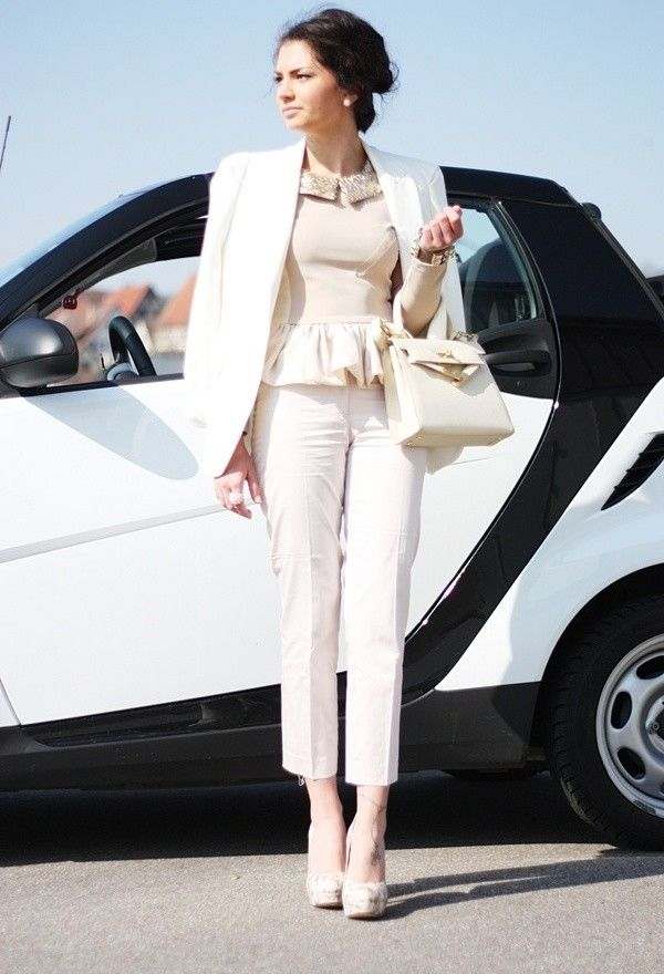 Think business always means a boring grey suit? Think again! This cream look inspired by vogue is simply stunning yet professional.