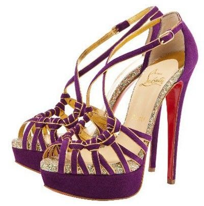 Purple and Gold Christian Louboutins: Christians, Fashion Shoes, Purple, Christian Louboutin Shoes, Silver Shoes, Sandals, High Heels, Christianlouboutin, Louboutin Pumps