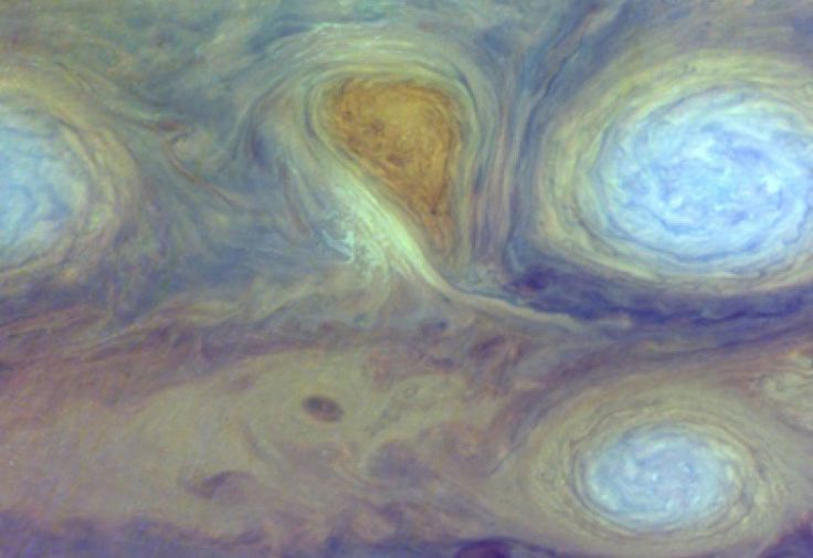Jupiter's clouds can swirl rapidly in raised high-pressure storm systems that circle the planet. The above pictured white ovals are located near the Great Red Spot, and have persisted on Jupiter since the 1930s. The Great Red Spot has persisted for at least 300 years | Mission Juno