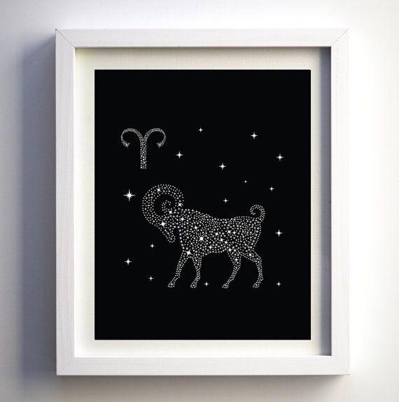 Zodiac Wall Art Aries Art Print Black and by FancyPrintsforHome
