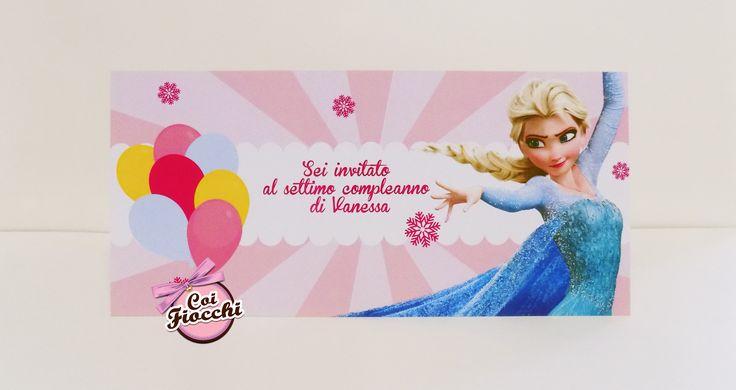 """Invito compleanno bimba con principessa Elsa dal film Disney """"Frozen"""""""