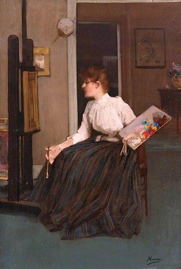 In the Studio (1890). Sir John Lavery (Irish, 1856-1941). Oil on canvas. McLean Museum and Art Gallery. Lavery attended Haldane Academy in Glasgow in the 1870s and the Académie Julian in Paris in the early 1880s. He returned to Glasgow and was associated with the Glasgow School. In 1888 he was commissioned to paint the state visit of Queen Victoria to the Glasgow International Exhibition. This launched his career as a society painter and he moved to London soon after.