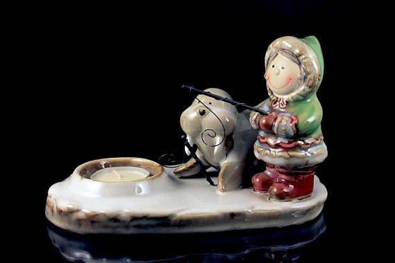 Tea Candle Holder Yankee Candle Eskimo and Walrus White Tea