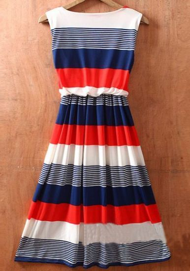 Red Round Neck Sleeveless Striped Mid Waist Dress - Sheinside.com #SheInside