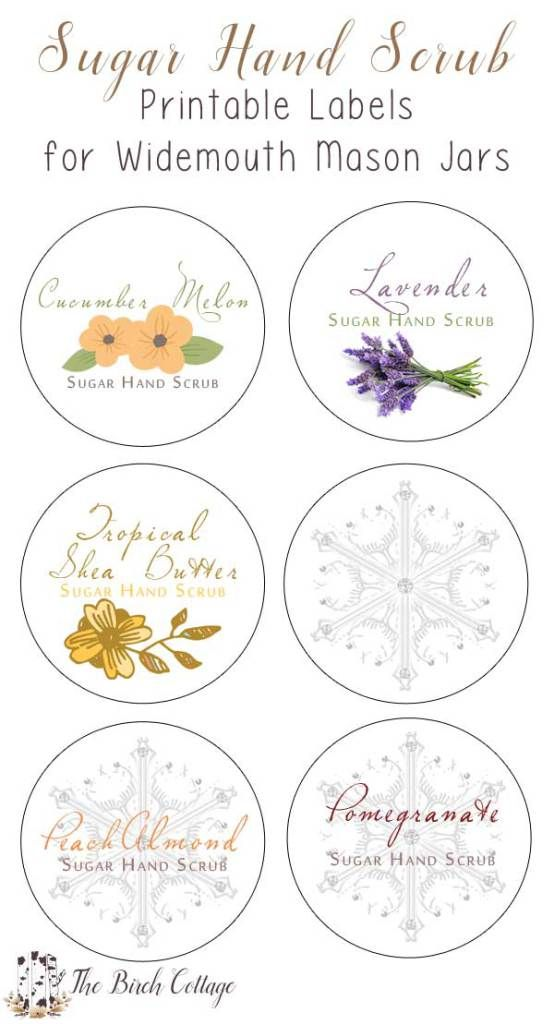 DIY Sugar Hand Scrub Printable Labels for large mouth Mason Jars by The Birch Cottage. Using Dawn Ultra Hand Renewal with Olay Cucumber Melon and sugar to make this sugar hand scrub, print labels for the perfect gift!