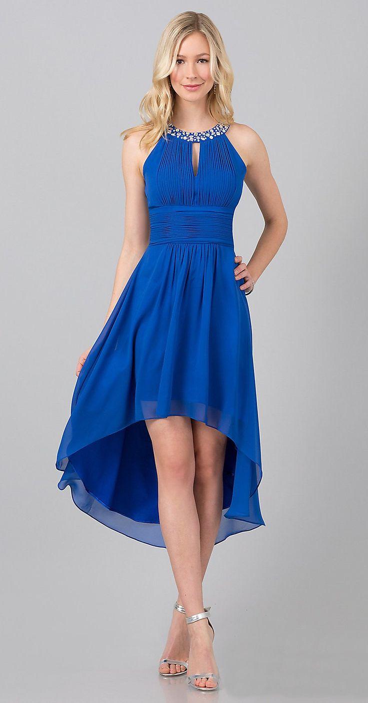 Semi Formal Royal Blue High Low Dress Jewel High Neck Keyhole Bodice