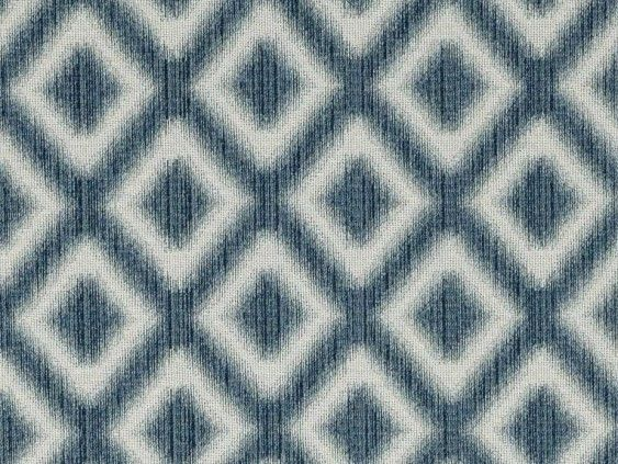 Timaru Blue Fabric by Tru Living - A quality cotton and polyester fabric with a coarse, open weave featuring a blue geometric diamond pattern on a beige background.