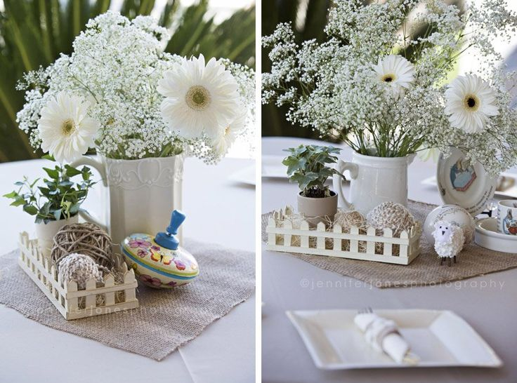 Vintage Lamb Themed Neutral Baby Shower | Jennifer Jones Photography | Gender Neutral | Rustic | cream | burlap | baby shower | vintage | table scape | antique children's toys