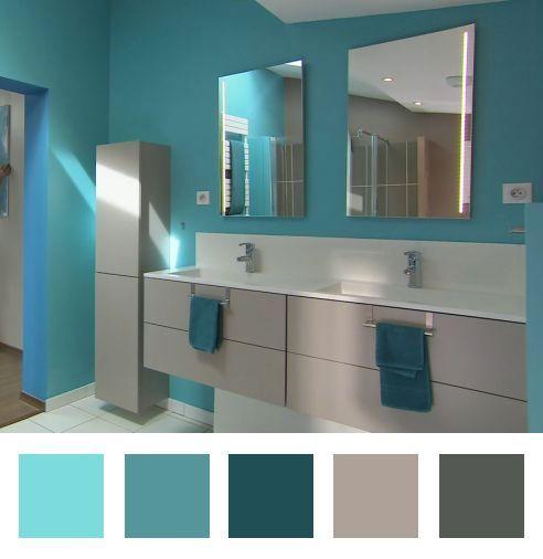 salle de bain bleu lagon et marron