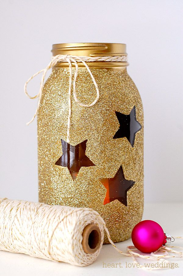 DIY gold glitter stars Mason jar...think of how this would glow as a candle lantern! | heartloveweddings.com