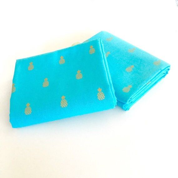 Gold Pineapple on Aqua 100% Cotton Fabric by SweetpeaAndLime on Etsy