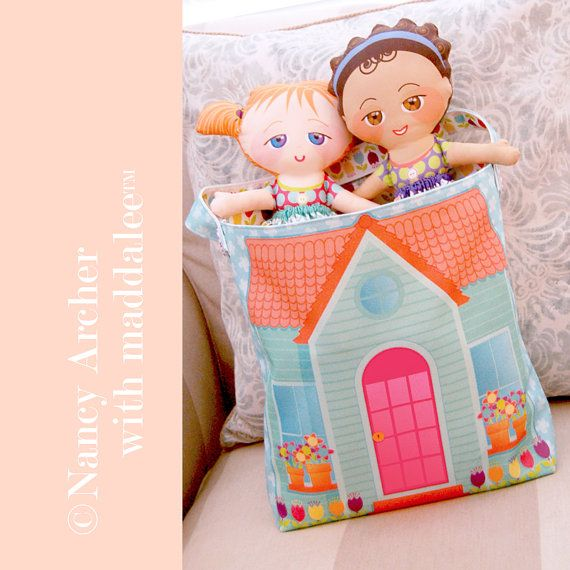 Maddalee Cloth Kit Cut and Sew Kid's Doll House by ShopMaddalee--make this for Christmas!