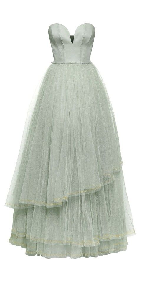 Mint Tulle Gown,50s