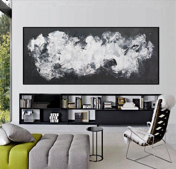 72x30 black white abstract painting horizontal large painting modern minimalist art painting elena