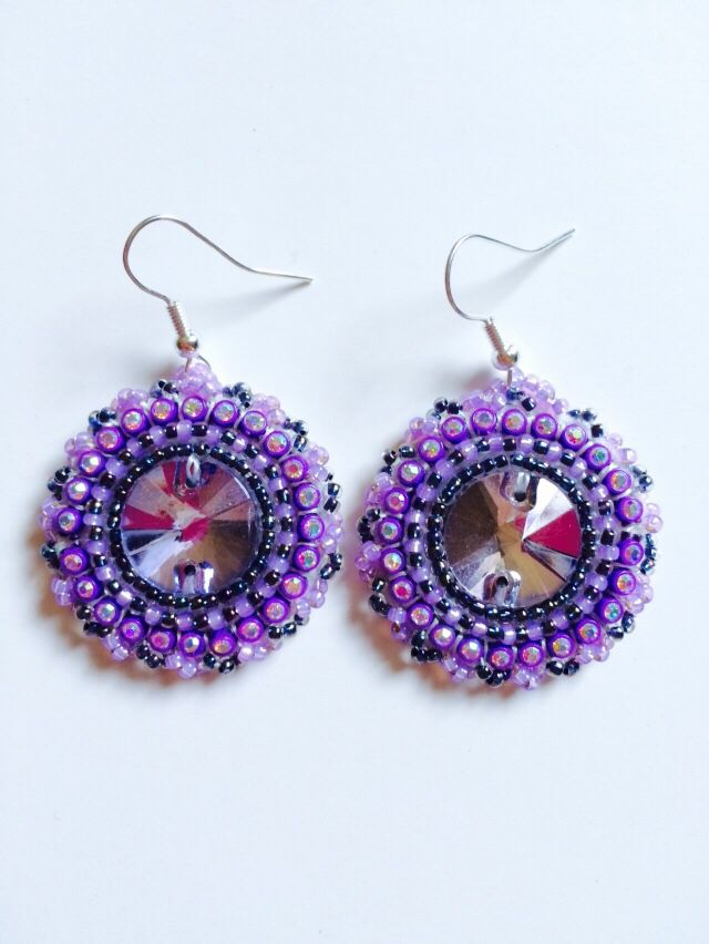 Purples! Beaded earrings.