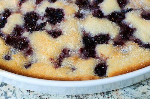 Blackberry cobbler (a different version-kinda like a pancake) via The Pioneer Woman