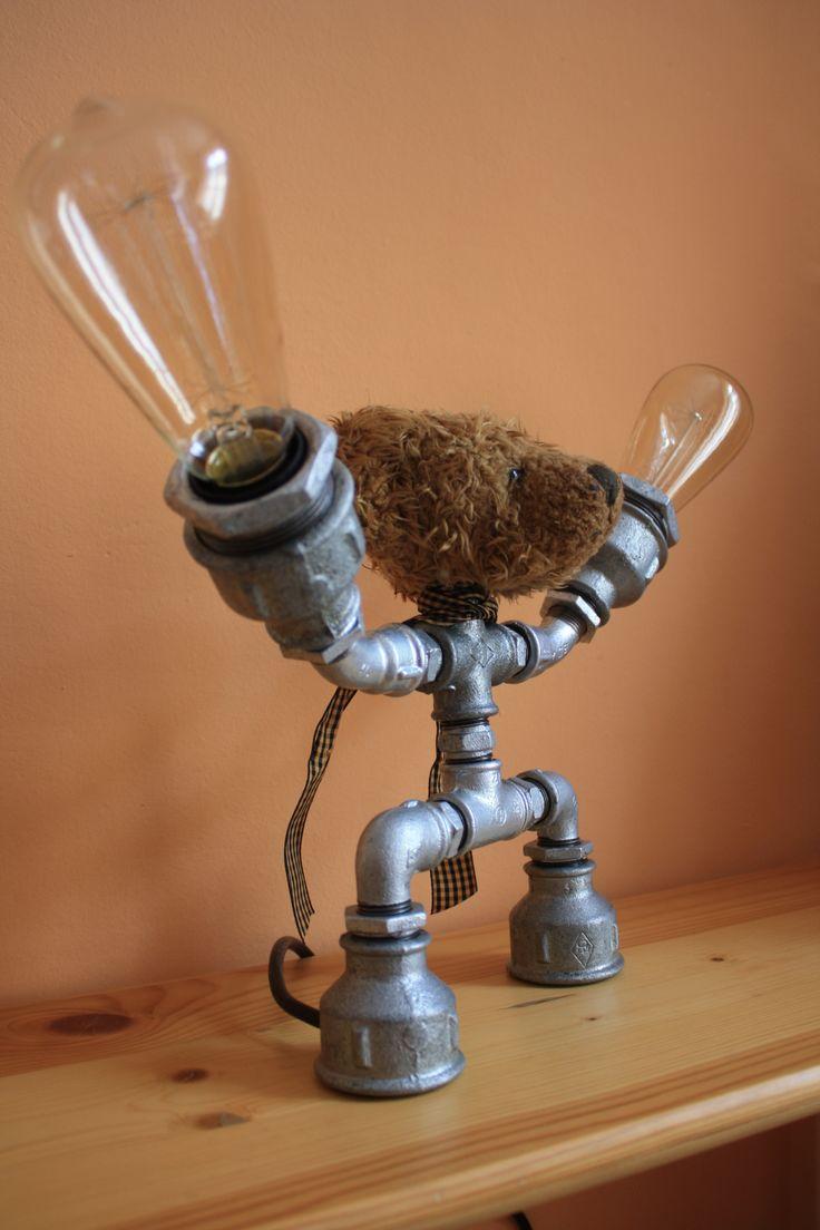 Lamp, galvanized lamp, old bear, antique-style Edison bulbs, cute table lamp ... Punk Trek www.punktrek.com www.facebook.com/PunkTrek