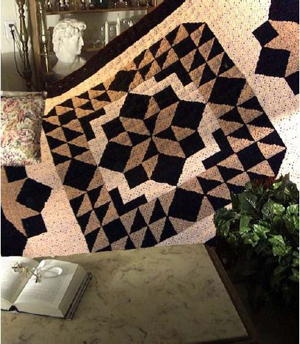 """A """"quilted"""" crocheted blanket! That is brilliant! AND a chart at the bottom, to show you how it all works. <3"""