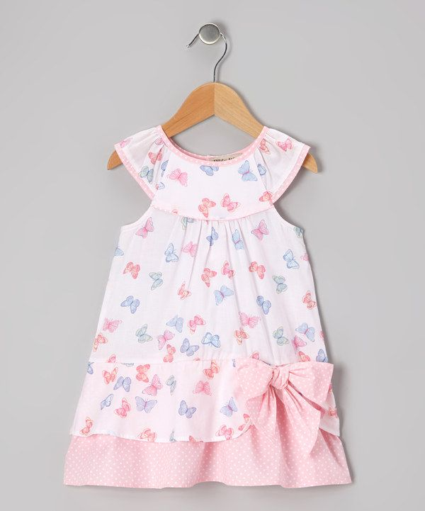 Take a look at this Pink & Blue Butterfly Yoke Dress - Infant & Toddler on zulily today!