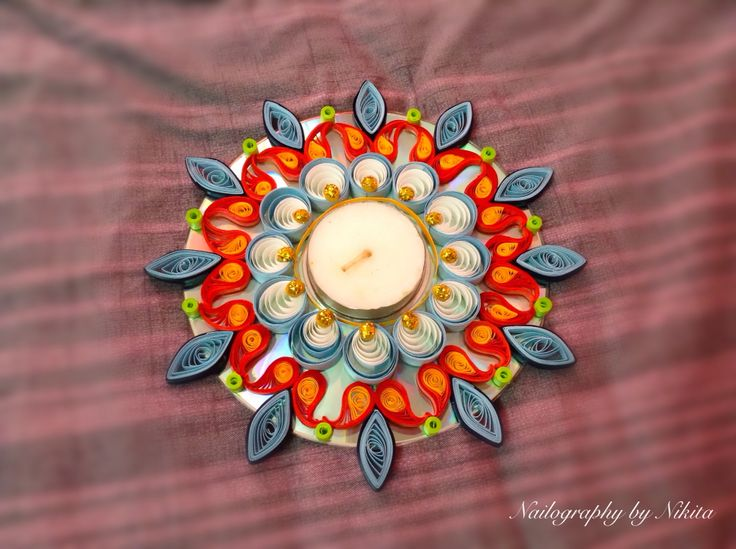Quilling quilled candle holder, Tealight holder, Diwali Diya, kolam