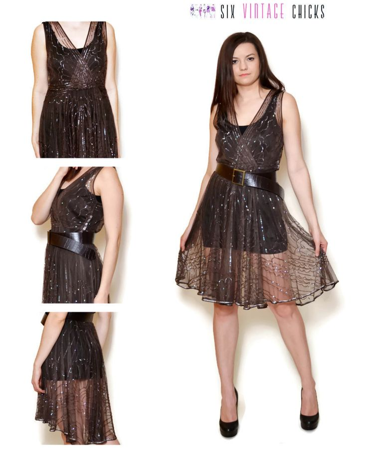 Sequin Dress / 90s Mini Brown Embroidered Dress/ Gatsby style/Art Deco/ Size L/40 by SixVintageChicks on Etsy