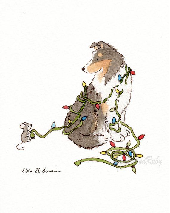 Sheltie Christmas Art - Dog Holiday Print-  8x10 Archival PRINT of Shetland Sheepdog, Mouse, and Christmas Lights