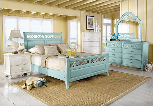 picture of Cindy Crawford Home  Seaside  Green Sleigh 5 Pc King Bedroom  from Bedroom Sets Furniture