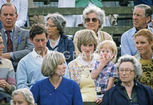 12.7.1981 Gloucestershire,Prinz Charles,Lady Diana Spencer  Sarah Ferguson bei einem Polo match
