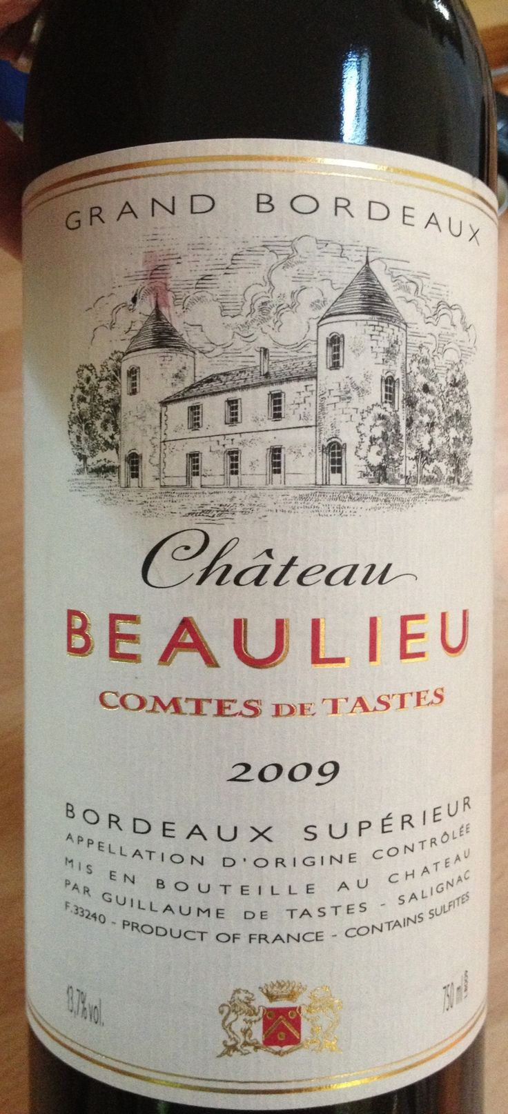 Ch. Beaulieu 09 from Thos Peatling, Bury St Edmunds. £15.11 - opaque deep purple. Subtle aromas. Already integrated, but light, flavours.