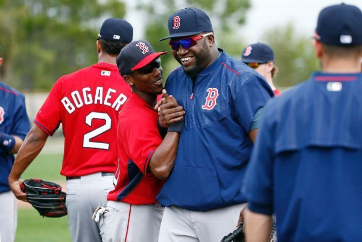 Boston Red Sox designated hitter David Ortiz, center, and infielder Jemile Weeks laugh during a baseball spring training in Fort Myers, Fla., Wednesday, Feb. 25, 2015. (AP Photo/Naples Daily News, Corey Perrine) Boston Red Sox Team Photos - ESPN