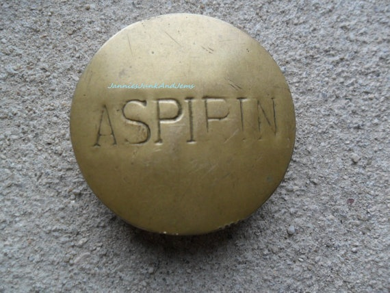ASPIRIN Pill Pot - Paperweight - Found In France. Made in early 1900's to carry aspirin.