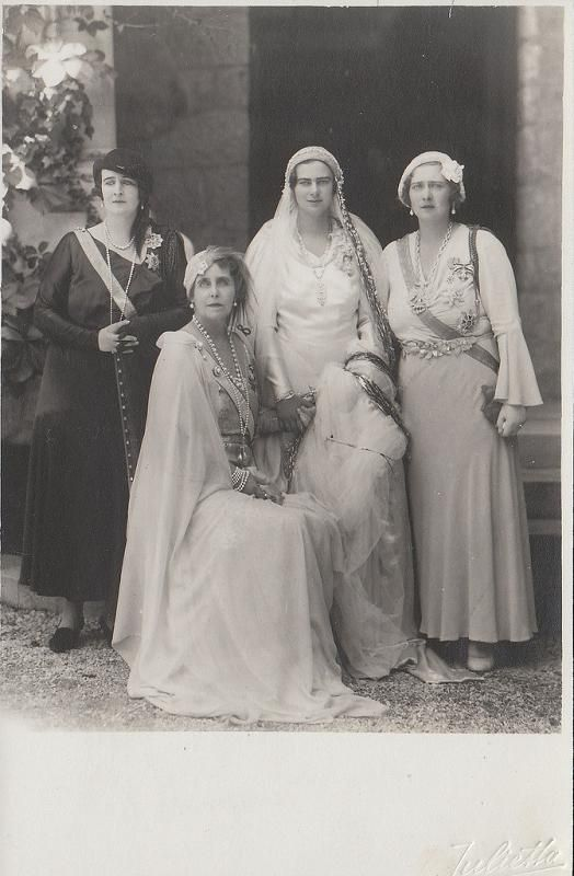 Queen Marie of Romania and her three daughters: Princess Elisabeth, Princess Marie (Mignon), and Princess Ileana (the bride)