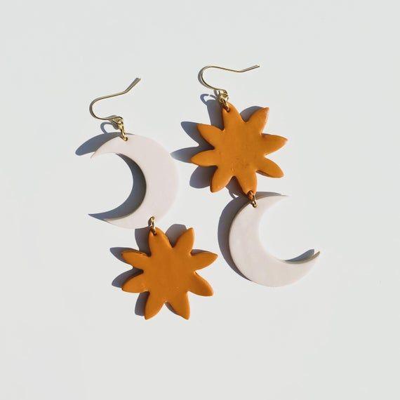 Handmade Jewelry Terracotta Painted Sun Dangle Earrings
