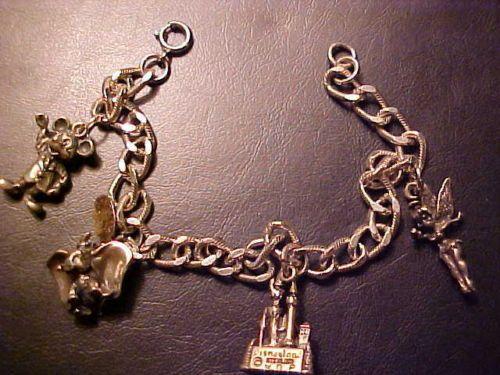 Vintage Disney Sterling Silver Charm Bracelet Tinkerbell Castle