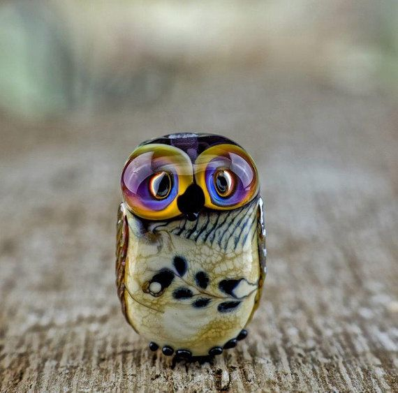 Tansy.... lampwork owl bead.... sra by DeniseAnnette on Etsy