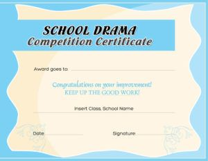School Drama Competition Award Certificate Template for MS Word DOWNLOAD at http://certificatesinn.com/school-drama-competition-award-certificates/