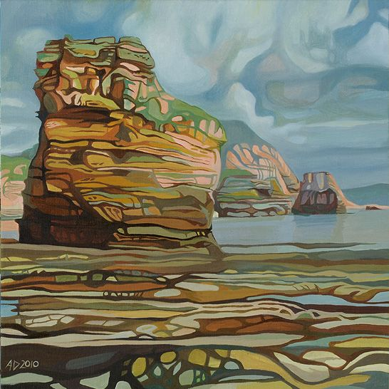 Ladram Bay, oil on canvas by Anna Dillon.