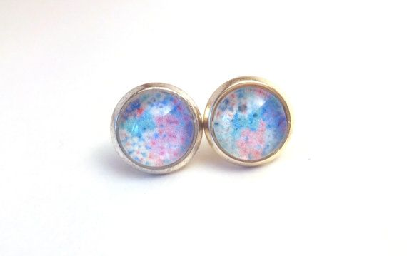 Silver Cabochon Stud Earrings - Pink & Blue Floral