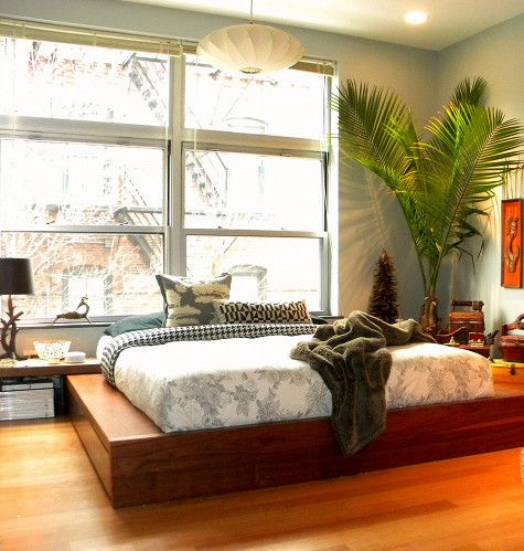 """Brad & Kendra Dufton's bedroom in South Boston. Loving that platform bed -- called """"Limo,"""" from BoConcept."""