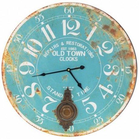 Fantástico reloj azul circular retro de pared con péndulo. Este reloj le dará un toque antiguo a tu hogar. ¡Marca las horas con tu mejor decoración de pared!