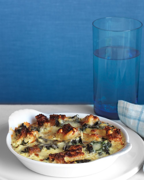 spinach and cheddar strata. good way to use some eggs and day old ...
