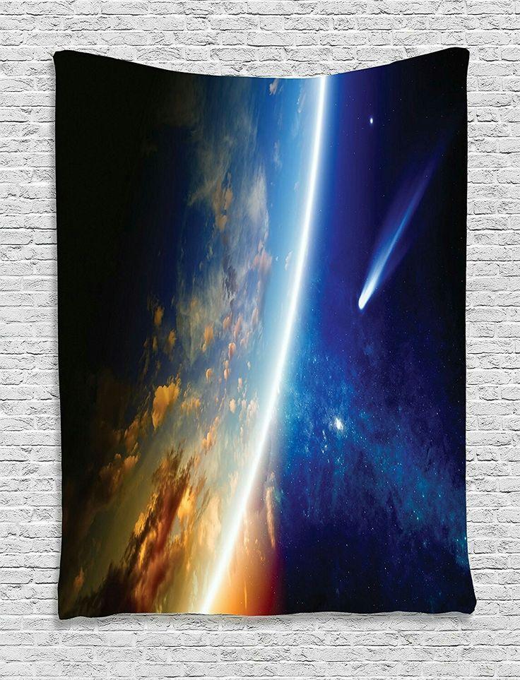 Planet erde wohnheim zimmer wohnzimer weltall sternennebel kosmos bildwirkerei